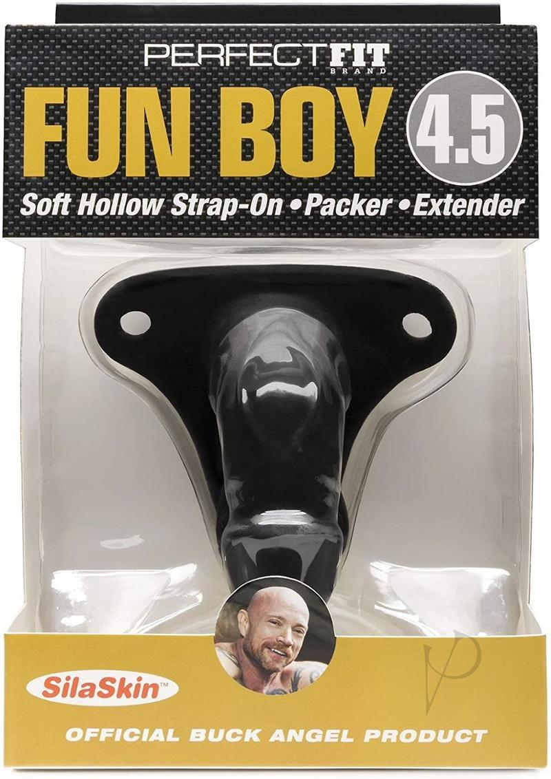 Perfect Fit Fun Boy Buck Angel Soft Hollow Strap On Black 4.5 Inch